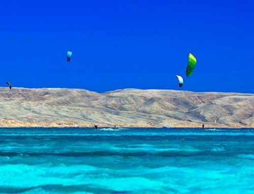Tourists enjoy kiteboarding in Hurghada